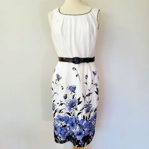 Arthur Tahari Floral Belted Sheath Dress